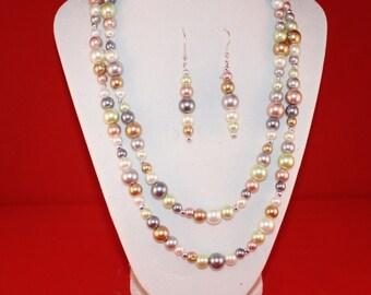 Multi-color Pearl Necklace Set