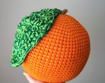 Crochet Orange Fruit Food Pillow