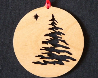 Engraved Wooden Christmas Tree Ornament