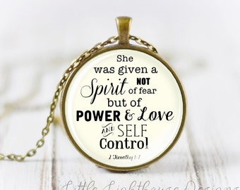 Large Power Love and Self Control Pendant Scripture Necklace Christian Jewelry Inspirational Gift Christmas Gift Large Pendant