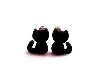 Cat earrings, Black Cat Earrings, Cat Stud Earrings, Kitty Earrings, Cat Lover Earrings, Cat Lover Jewelry, Cat Lover Gift, Cat Lady Gift