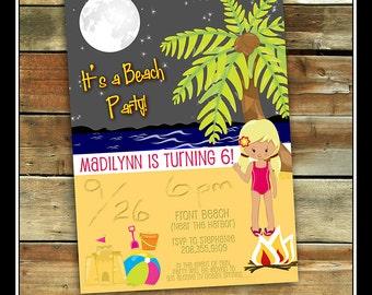 Beach Party Birthday Invitation, Starry Night Invitation, Bonfire invitation, Beach invitation,  Bonfire birthday, Fire pit, Beach Birthday