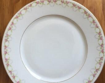 """Prince Regent, Bavaria, vintage 9"""" plates, set of 6 with pink and green floral design and gold leaf"""