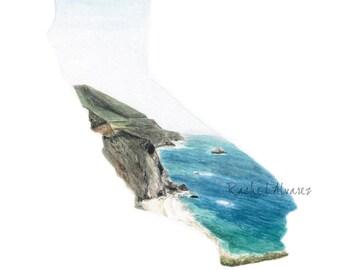 California Art PRINT - California State Art - Wanderlust Gift for Traveler - California State Map - California Watercolor -  California