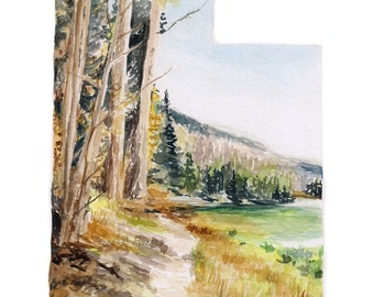 Utah PRINT - Utah Art Print - Nature Lover Gift - Father's Day Gift -  Utah State Map - Watercolor State Art - Custom State Print - Utah