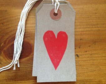 Hand printed lino print red heart gift tags