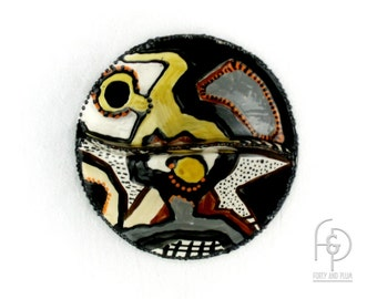 Studio Art Pottery Divided Bowl with Two Abstract Figures Geometric Designs and Sponge Pattern