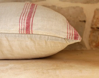 Hand-woven natural beige linen cushion cover with red stripes