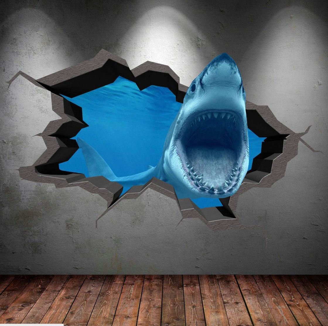 Shark 3d Cracked Sea Cave Hole Full Colour Wall Art Sticker