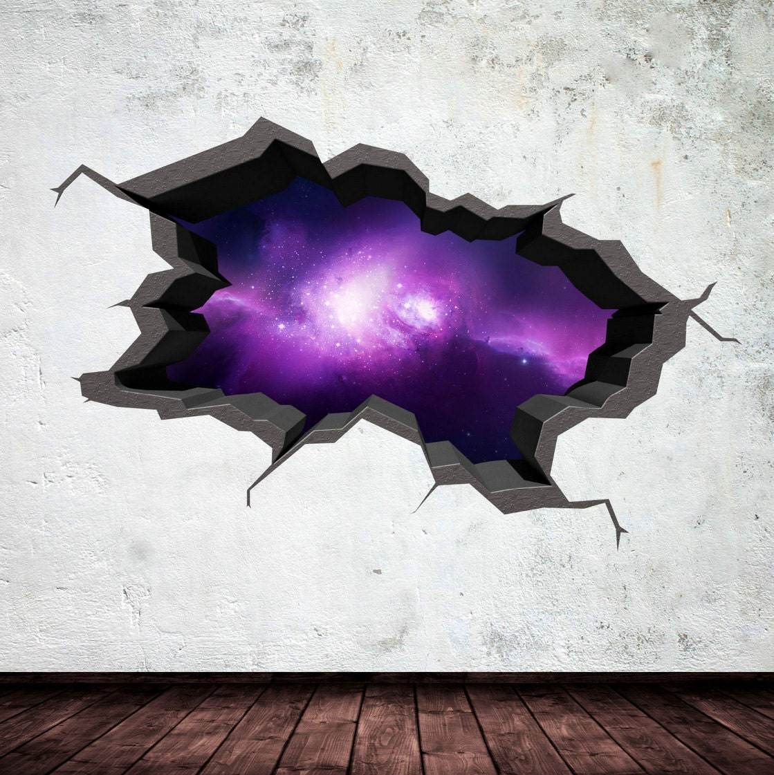 3d space wall decal cracked hole space galaxy stars full. Black Bedroom Furniture Sets. Home Design Ideas