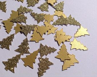 Gold Christmas Confetti, Christmas Tree Table Confetti, Gold Glitter Tree Confetti, Gold Star Party Decor