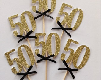 12 x 50th Cupcake Toppers, Gold Glitter 50th Cake Toppers, Black and Gold Party Decor, 50th Birthday Party, 30, 40, 50, 60