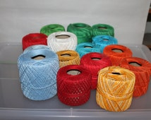 14 Rolls of Knit-Cro-Sheen, Made by J & P Coats, Made in USA, Boil Fast, Colors Include Yellow, Orange, Red, Blue, White and Green, Supplies