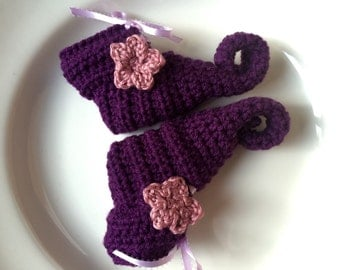 Crochet elf slipper booties, curly toe elf shoes, fairy baby booties, newborn elf slippers, baby gnome shoes, Woodland Fairy shoes
