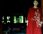 red embroidered linen dress with tussah embroidery BonLife