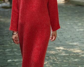 Gray/red minimal cashmere dress BonLife