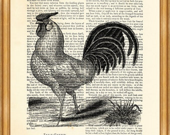 Rooster, Art Print, Dictionary Poster, Wall Decoration, Book Page Print