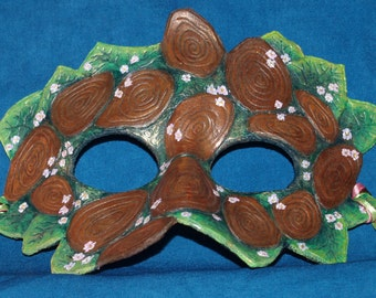 Abstract Woodland Fairy Leather Mask