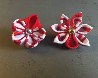 Red and white lapel pin flower