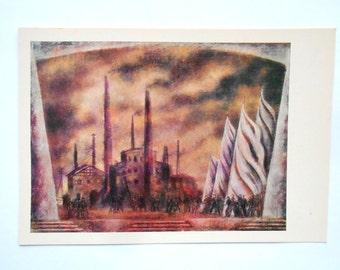 "V. Ryndin. Stage design to Khrennikov""s opera ""Mother"" Postcard , ""Fine art"" Moscow, 1970"