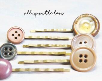 Bobby Pin Set - Button Bobby Pins - Vintage Button Bobby Pins - Hair Pins - Neutral Bobby Pins - Stocking Stuffer - Christmas Gift
