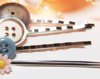 Button Bobby Pin Set - Button Hair Pin Set - Flower Bobby Pins - Flower Hair Pins - Button Bobby Pins - Button Hair Pins