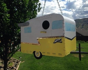 1961 Shasta Camp Trailer Birdhouse - yellow