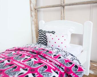 "Doll bedding, doll bed bedding, 18"" doll bedding, Fox bedding set, hot pink, black, white, chevron, doll pillow, doll blanket, doll rug"