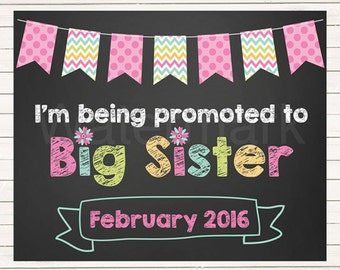 Pregnancy Announcement Pregnancy Reveal I'm Being Promoted to Big Sister Sign Chalkboard Photo Prop Pregnancy Pink Green JPEG PDF Printable