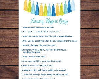 Blue and Green Tassel Nursery Rhyme Quiz Baby Shower Game, Nursery Rhyme Baby Shower Game, Instant Download  Printable219