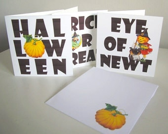 Instant Download! 6 different Halloween mini notecards 9cm x 9cm with matching envelope