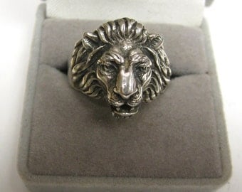 Lion ring Sterling Silver handmade no stone size  U.S.A.