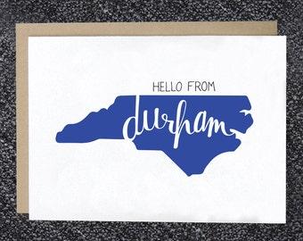 Hello from Durham Note Card, Durham Greeting Card, Hello Durham, NC