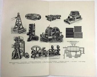 Original 1890's Print - Mining Machinery