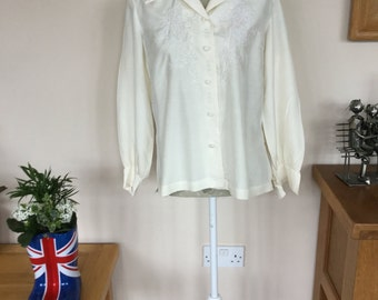 Vintage silk cream hand embroided blouse