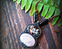 Romantic Rose Quartz and Brazilian Agate healing crystal pendant FREE SHIPPING