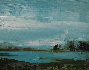 Other side 5X7 Original tonalist landscape oil painting from Timber Trail Arts