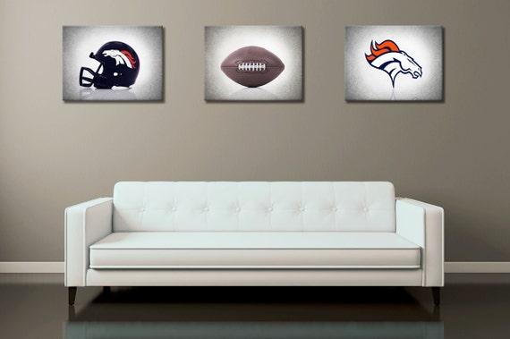 Discount Set Of 3 Denver Broncos B Amp W Background By Ipraystudio