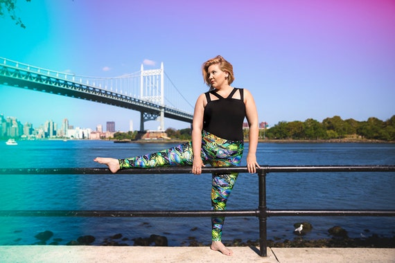 Under the Sea--Colorful plus size workout leggings!