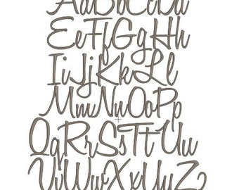 """3"""" Classic Script Cursive Handwriting Style Embroidery Font Monogram for Instant Download"""
