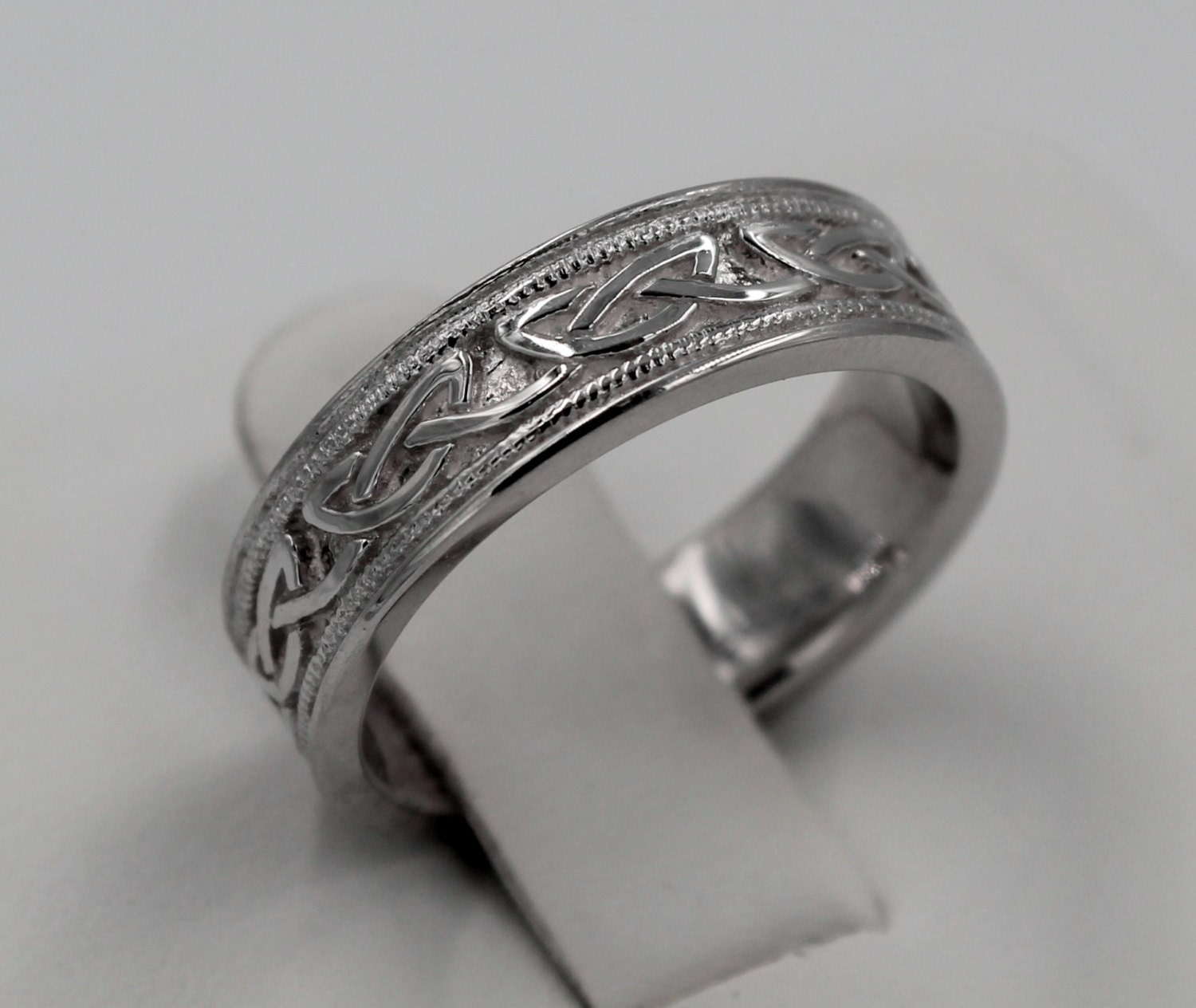 Celtic Knot Engraved Wedding Band Silver By PlatinumClassics