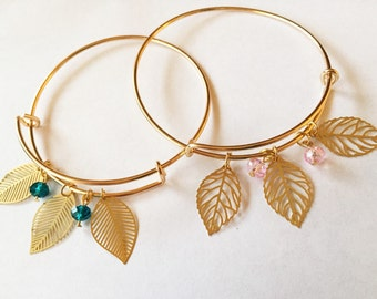 Gold Plated Leaf Adjustable Bangle