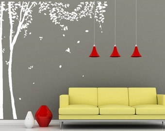 Tree Wall Decals Large Tree Wall Murals White Tree Birds Wall Sticker Full Tree  Wall Decal