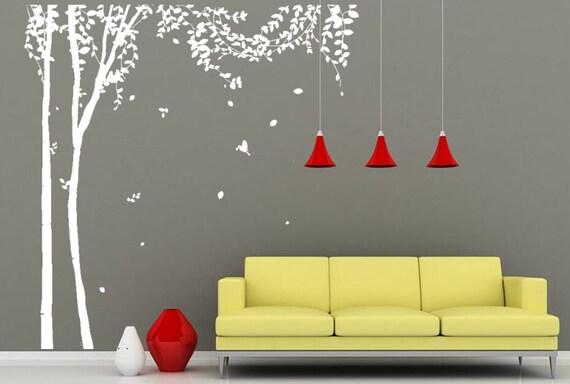 Stickers murali di grande albero albero bianco di wallartdiy