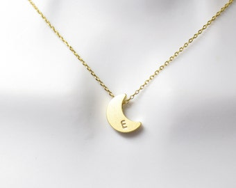 Personal, Letter, Initial, Crescent, Moon, Gold, Silver, Necklace, Custom, Hand stamped, Harf, Moon, Birthday, Friendship, Gift, Jewelry