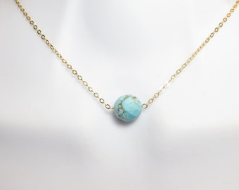Turquoise, Onion, Stone, Gold, Silver, Necklace, Modern, Dainty, Simple, Jewelry, Great, Idea, For, Best friend, Sister, Mother, Lovers