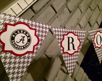 "ALABAMA PENNANT PRINTABLE! ""Roll Tide"" Crimson Tide Houndstooth Banner Pennant Automatic Download pdf"