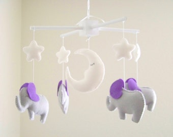 Lavender and gray elephant baby mobile, elephant mobile,  baby mobile, nursery crib mobile, gray nursery decor, star mobile, moon mobile