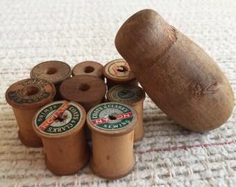 Vintage Wooden Spools and Sock Darner