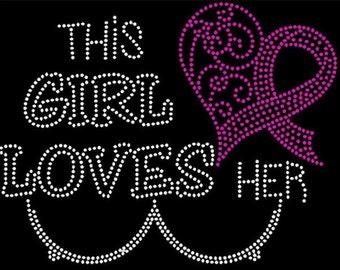 This girl loves boobies Breast cancer awareness Rhinestone iron on transfer DIY bling